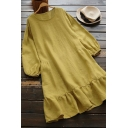 Casual Women's Swing Dress Plain Tiered Round Neck Long Bishop Sleeves Tiered Regular Fitted Swing Dress