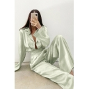 Trendy Ladies Solid Color Set Satin Long Sleeve Notched Collar Button Up Loose Shirt & Long Wide-leg Pants in Green