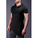 Men's Leisure Plain Short Sleeve Irregular Zipper Scratch Decorated Slim Fit Longline Hoodie