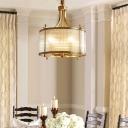 4-Light Hanging Lamp Vintage Drum Clear Fluted Glass Chandelier Pendant in Antiqued Gold