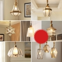 House/Star/Dome Shade Foyer Drop Pendant Colonial Style Clear/Water Glass Single Gold Pendulum Light