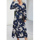 Womens Gorgeous Dress All Over Daisy Floral Print Long Sleeve Surplice Neck Twist Waist Mid Wrap Dress