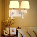 Ceramic Dolphin Wall Lamp Nordic 2 Heads White Sconce Lighting with Tapered White Glass Shade