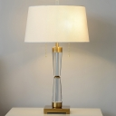 Small/Large Tapered Drum Table Lamp Simplicity Fabric White/Flaxen/Coffee Nightstand Light with Pulling Chain