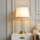 Clear Fluted Glass Cylinder Night Lamp Simple 1 Bulb White and Brass Table Light with Empire Shade