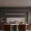 Elongated Tube Island Light Fixture Minimalist Acrylic Black/Gold LED Hanging Ceiling Light for Dining Room