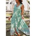 Gorgeous Womens Dress Ditsy Floral Print V-neck Button Up Slit Front Midi A-line Tank Dress