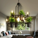 Countryside Artificial Pot Plant Chandelier 7 Bulbs Iron Ceiling Hang Light in Black