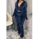 Popular Womens Set Velvet Plain Long Sleeve Hooded Ruched Zip Up Fit Crop Jacket & Pants Set