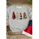 Stylish Christmas Tree Printed Long Sleeve Casual Pullover Sweatshirt