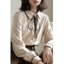 Trendy Women's Shirt Blouse Button Fly Point Collar Long Sleeves Regular Fitted Shirt Blouse