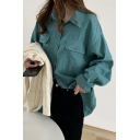 Fancy Women's Shirt Blouse Solid Color Flap Chest Pocket Spread Collar Long Sleeves Relaxed Fit Shirt Blouse