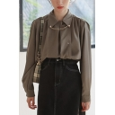 Leisure Women's Shirt Solid Color Pleated Turn-down Collar Button Closure Long Sleeves Regular Fitted Shirt Blouse
