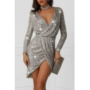 Womens Boutique Silver Dress Sequined Long Sleeve Halter Surplice Neck Tied Waist Short Wrap Dress