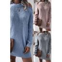 Pretty Dress Plain Knit Long Sleeve Cold Shoulder Short Shift Sweater Dress for Ladies