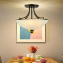 4 Lights Close to Ceiling Lighting Simplicity Bowl Opal Glass Semi Flush Mount in Black/Gold