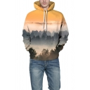 Casual Boys Hoodie Forest 3D Print Long Sleeve Pouch Pocket Relaxed Fit Hoodie