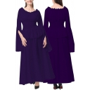 Retro Womens Dress Solid Color Bell Long Sleeve Round Neck Ruffled Pintuck Long A-line Dress