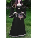 Medieval Dress Floral Printed Bell Long Sleeve Round Neck Maxi A-line Dress