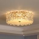 Small/Large Drum Ceiling Light Modern Clear Snowflake Crystal Bedroom LED Flushmount Lighting