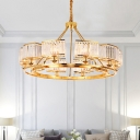 Circle Ceiling Pendant Lamp Postmodern Crystal Prism 6/8/10 Lights Gold Plated Chandelier Light Fixture