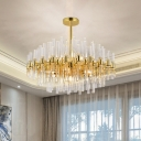 Round/Oval Dining Room Hanging Light Clear Crystal Rod 16/20/28 Bulbs Postmodern Chandelier in Gold, 31.5
