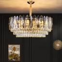 Postmodern Tier Suspension Pendant Cut K9 Crystal 8/11/21 Lights Dining Room Chandelier in Gold