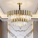 Gold Plated Layered Chandelier Lamp Postmodernism 9/10/15 Heads Crystal Suspended Lighting Fixture