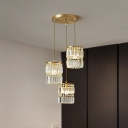 Brass Cylindrical Multi-Pendant Postmodern 3 Lights Tri-Prism Crystal Ceiling Hang Lamp with Round/Linear Canopy