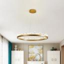 Black/Gold Hoop Pendant Chandelier Minimalist Crystal Living Room Small/Medium/Large LED Hanging Ceiling Light