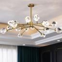 Postmodern Branch Chandelier Light 6/12/18 Bulbs Clear Crystal Hanging Pendant for Living Room
