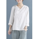 Trendy Women's Blouse Cotton and Linen Solid Color Frog Button Surplice Neck Long Sleeves Regular Fitted Blouse Shirt