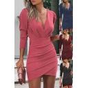 Fancy Women's Bodycon Dress Heathered Glitter Pleated Detail Asymmetrical Wrap Hem Long Puff Sleeves V Neck Fitted Short Bodycon Dress