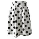 Vintage Unique Polka Dot Printed High Waist White Swing Skirt for Women