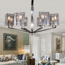 Postmodern Triangle Shade Pendant Light 3/8/12 Heads Hand-Blown Smoky Glass Chandelier in Silver