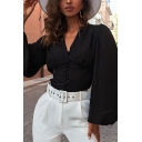 Classic Womens Shirt Solid Color Button Front Slim Fitted Long Bishop Sleeve V Neck Shirt