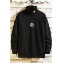 Fancy Mens Sweatshirt Icon Pattern Mock Neck Long-sleeved Ribbed Trim Regular Fitted Sweatshirt
