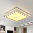 White Square/Rectangle Flush Light Minimalist Crystal/Acrylic Surface Mounted LED Ceiling Lamp, Small/Medium/Large