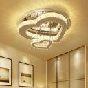 Loving Heart Ceiling Flush Light Modern Clear Crystal Bedroom LED Flush Mounted Lamp in Chrome