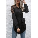 Womens Pretty Sheer Lace Panel Long Sleeve Collarless Button-up Bow Tied Waist Curved Hem Tunic Shirt in Black