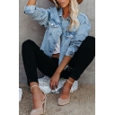 Fashion Girls Light Blue Long Sleeve Spread Collar Button-up Chest Pockets Regular Denim Jacket