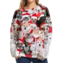 Funny Red Sweatshirt Cat Dog 3D Pattern Long Sleeve Crew Neck Relaxed Pullover Sweatshirt for Men