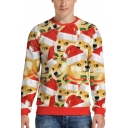 Spoof Sweatshirt Dog All Over 3D Pattern Long Sleeve Crew Neck Relaxed Pullover Sweatshirt in Red-yellow
