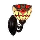 Single-Bulb Wall Sconce Baroque Bell Stained Art Glass Wall Mounted Light Fixture in Black