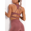 Trendy Women's Tank Top Solid Color Hollow out Cutout Scoop Neck Sleeveless Fitted Cropped Cami Top
