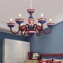 Resin Candelabra Chandelier Kids 5/6-Light Red and Blue Suspension Pendant for Boys Room
