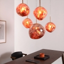 Designer Lava Ball Drop Pendant Silver/Red/Gold Melting Glass 1 Head Dining Room Suspension Light, Small/Large