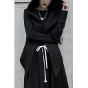 Cool Womens Coat Long Sleeve Hooded Open Front Irregular Hem Loose Fit Coat in Black