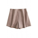 Casual Women's Shorts Solid Color Panel Invisible Zipper Fully Lined High Waist Shorts