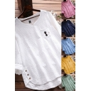 Unique Womens Tee Top Broderie Cartoon Cat Embroidered Chest Pocket Cotton and Linen Button Split Hem Long Sleeves Relaxed Fit T-Shirt